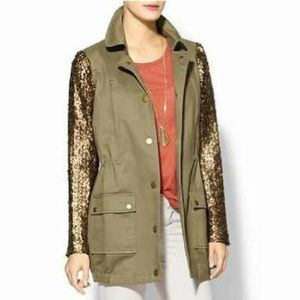 HIVE & HONEY Army Green Sequin Sleeve Jacket XS